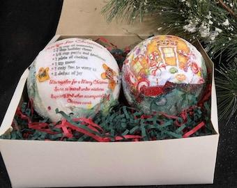 Gingerbread house ornament -Decoupage tree ornament - FREE SHIPPING - Handmade  tree ornament -Christmas Ball  - set of (2)  # 20