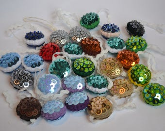 Small Sequin Bauble's, Set of Seven
