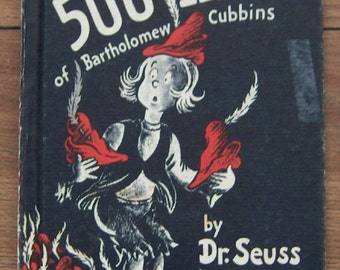 vintage 1938  childrens book The 500 Hats of Bartholomew Cubbins DR. SEUSS children boy girl book club edition