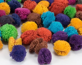 Hmong Pom Poms : Handmade Hmong & Lisu Hill Tribe Pom Poms Haystack Style Multi Color x 20 | 50 | 100 from Cotton Yarn, Red, Blue, Yellow