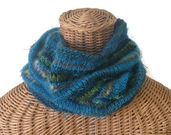 Knit Teal Cowl Wool Scarf Textured Neck Warmer Blended Yarns Boutique Style Cowl Mohair Teal Cowl