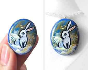 Rabbit Painting, Keepsake Jewelry, Angel Necklace, Pet Pendant, Animal Portrait, Memorial Gift, Hand Painted Pebble Art, Bunny Lover