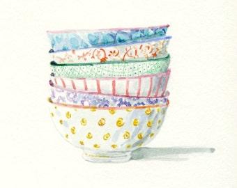 Art Print of Original Watercolor Painting -- patterned Bowls