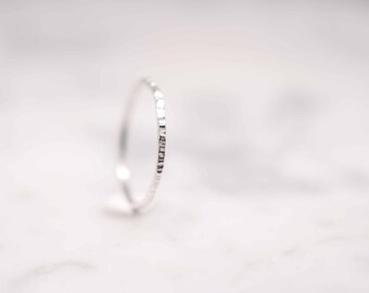 Hammered Stacking Ring | Thin Band Ring Silver | Gift For Her | Christmas Gifts Jewellery