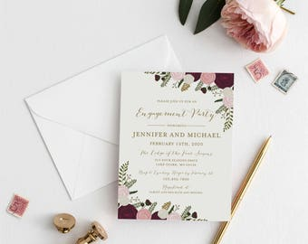 Engagement Party Invitation Template, DIY Engagement Invite, Cheap Invitation, Floral Invitation, INSTANT Download PDF Template #CL157