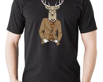 Christmas Deer Hipster Style T-shirt Christmas Tee Shirt Gift for Christmas Deer with Suite