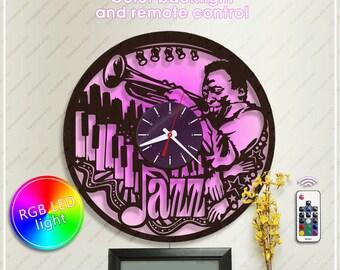Jazz Clock| Wooden Clock|Jazz Lover Gift| Wall Clock *w395 Handmade Clock with Backlight