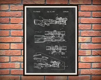 Patent AK-47 With Scope 1997 Assault Rifle - Art Print - Poster -  Fire Arm - Weapon - Military Weapon - Machine Gun - Wall Art