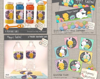 Easter Printable Party Favors Value Pack -- Tags, Water Bottle Labels, Bubble Wrappers, Treat Bag Toppers