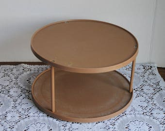 Vintage Rubbermaid Turntable Lazy Susan Brown Tiered