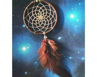 Brown dream catcher, faux suede, brown feathers, tan web and & glass bead finish 7cm diameter dreamcatcher hand made