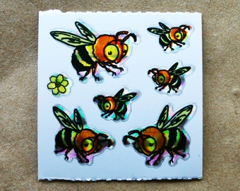 Bees Prism Vintage Stickers