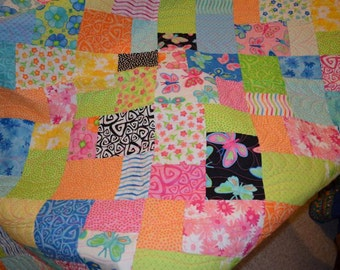 Butterflies and Swirls Handmade Quilt -Hot Pink, Lime, Black, Blues - Beautiful! Twin Sized Quilt