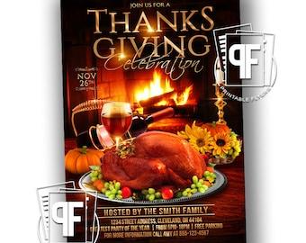 Thanksgiving Dinner Party Invitation - Thanksgiving Invitation - Thanksgiving Celebration Invitation - Thanksgiving Party Invites