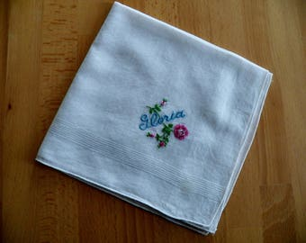 "Vintage 1950's Hankie with Personalized Embroidery  ""GLORIA"""