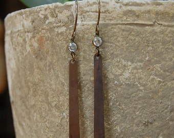 Rhinestone & Antiqued Bronze Earrings