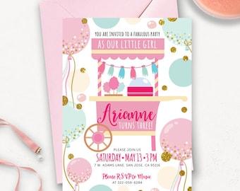 Cotton Candy druckbare / County Fair druckbare Geburtstag Geburtstagseinladung Einladung / Candy Shoppe druckbare Geburtstag einladen