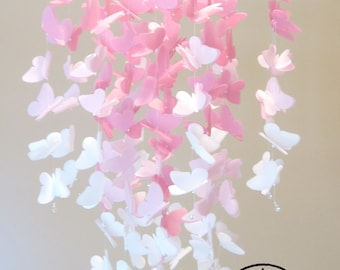 Large Vellum Butterfly Mobile - OMBRE - Rose Pink and White