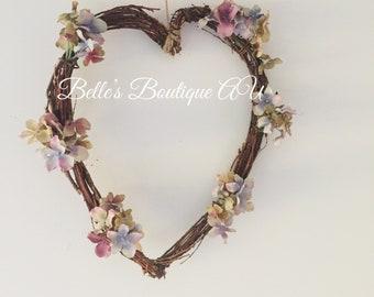 Twig heart wreath, floral heart wreath, heart decoration, wooden heart