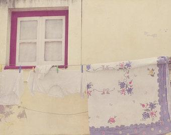 Clothesline Photo, Lisbon Portugal, Gift For Her, Wooden Windows, Purple Decor, Lavender Decor, Yellow Decor, Wall Art, Home Art Decor