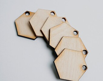 6 laser cut solid large hexagons. Unfinished wood. Jewelry supply.
