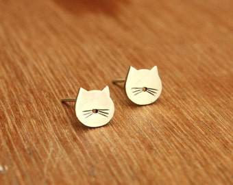 Tiny Cat stud Earrings- Sterling Silver - Cat lover gift