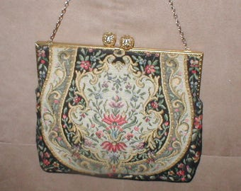 Antique 1940's FRENCH Needlepoint Tapestry Purse