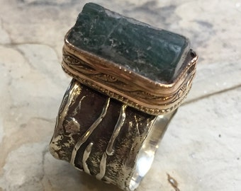 OOAK Organic ring, sterling Silver gold Band, wide silver band, olive green tourmaline ring, oxidized ring, one of a kind - Valley R2396