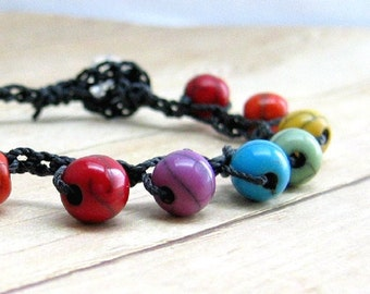 Rainbow Beaded Bracelet, Crochet Bracelet, Bead Boho Bracelet, Stackable Bracelet, Rainbow Jewelry, Stacking Bohemian Style Jewelry