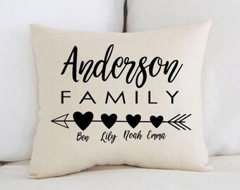 Unique baby gift etsy unique baby gift personalized baby pillow family arrow hearts negle Choice Image