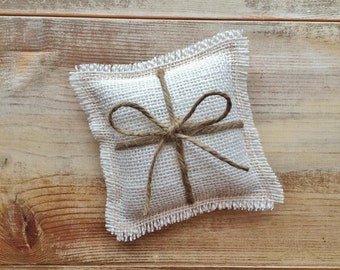 "5"" x 5"" Mini Off-White Burlap Ring Bearer Pillow w/ Jute Twine- Rustic/Country/Shabby Chic/Folk/Wedding-Miniature-4 Burlap Colors Available"