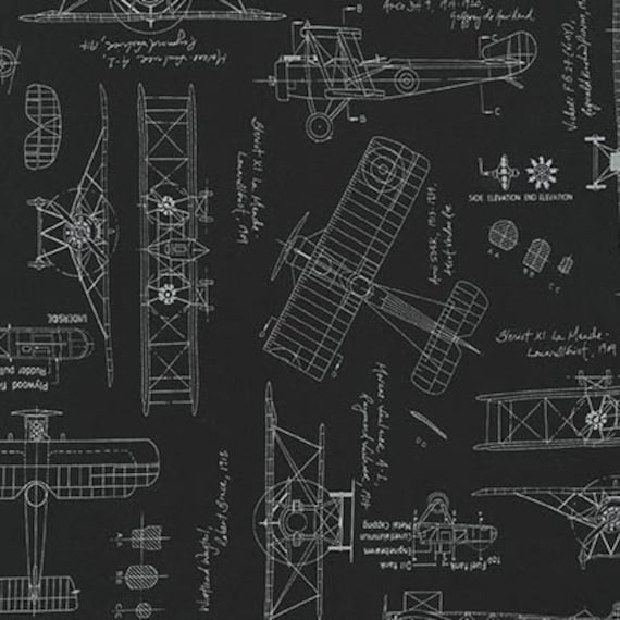 Aviation fabric vintage blueprints airplane blueprint fabric aviation fabric vintage blueprints airplane blueprint fabric blueprints robert kaufman 15675 2 black fat quarters and by the yard malvernweather Image collections