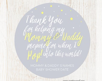 Baby Shower Ready To Pop Stickers, Popcorn Favor Sticker, Personalized Shower Stickers for Mother To Me, Mom, Gender Neutral Gray Yellow
