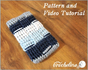 Pattern and Video Tutorial: Navy Light blue White Phone Case- for larger phones like the Iphone 6 plus, Motorola Droid Turbo, Samsung s6