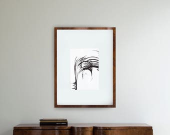 Minimal modern abstract ink art, lines art, abstract line art, minimalist wall art, black and white abstract ink art. storm, wind, movement
