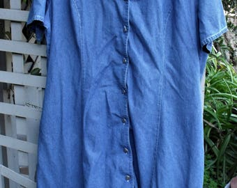 Vintage Denim Dress/ Denim House Dress/ Size 18 Retro Denim/ Thrifted Funwear/ Farmhouse Chic/ Vintage Couture/ Shabbyfab Denim Thrift