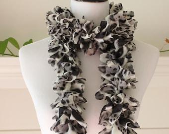 Crochet Leopard print Yorganza Ruffled Scarf