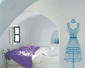 Female Lifesize wire dress form mannequin vinyl wall decal / sticker / mural removable wall decor