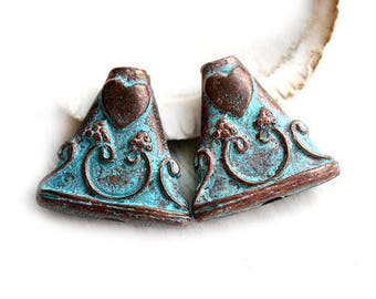 Copper Triangle beads Green Patina beads Heart and wine ornament Large metal beads pair Lead Free 17mm - 2Pc - F159