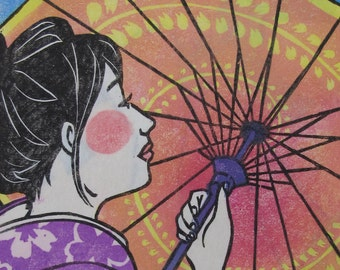 "VERY LAST PIECES! Original Japanese woodblock print ""Hanami - Here comes the sun"""