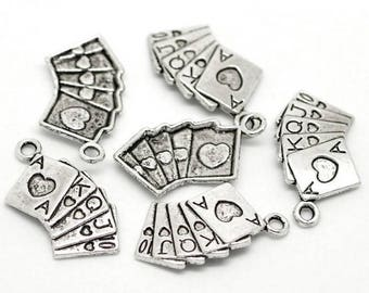 8 poker playing cards antique silver charms
