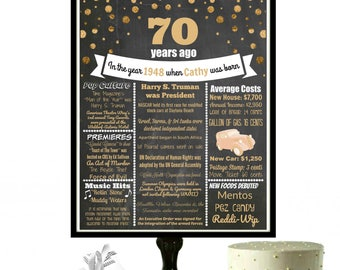 1948 Birthday Poster, 70th Birthday Gift for Her, 70th Birthday Chalkboard, 1948 Gifts, 1948 Chalkboard, Personalized 70th Birthday Poster