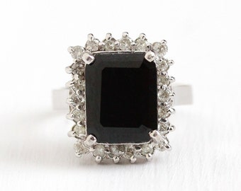 Sapphire Diamond Ring - 14k White Gold 6.31 CT Genuine Sapphire & Diamond Halo - Size 5 3/4 Fine Engagement Bridal Wedding Jewelry Appraisal