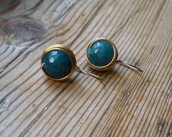 Blue agate earrings // brass earrings // dainty earrings // agate earrings // brass jewelry