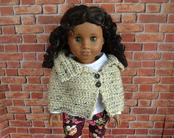 18 inch Doll Clothes - Crocheted Capelet Poncho - MADE TO ORDER - Oatmeal Beige Tan - fits American Girl