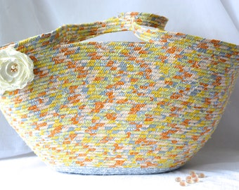 Gray Tote Bag, Handmade Coiled Rope Basket, Clothesline Basket, Lovely Storage Organizer, Knitting Project Bag,  Gift Basket