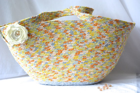 Gray Tote Bag, Handmade Coiled Rope Basket, Clothesline Basket, Lovely Storage Organizer, Knitting Project Bag,  Gift Basket