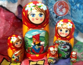 Matryoshka doll with the fairy tale «Little Red Riding Hood»