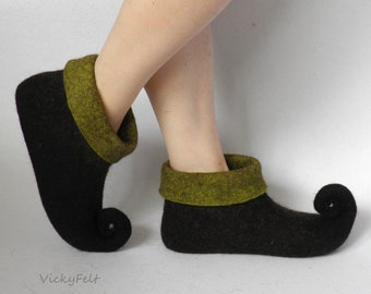 Elf shoes Fairy shoes Womens Felted slippers Fairy boots Pixie shoe Festival boots Curly nose shoes Wool slippers Felt slippers Fairytale
