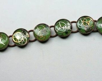 Steampunk in green and copper bracelet